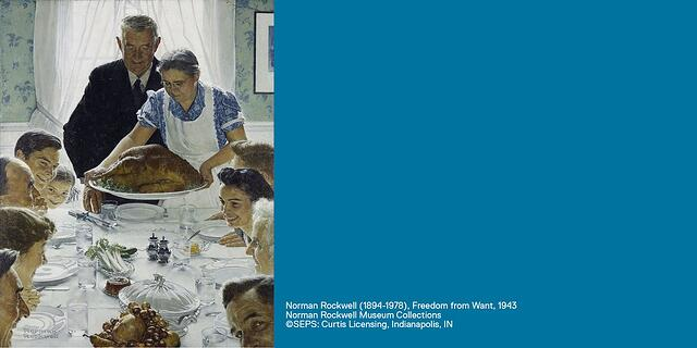 "Norman Rockwell painting, ""Freedom from Want,"" 1943. Family sitting around a dinner table."