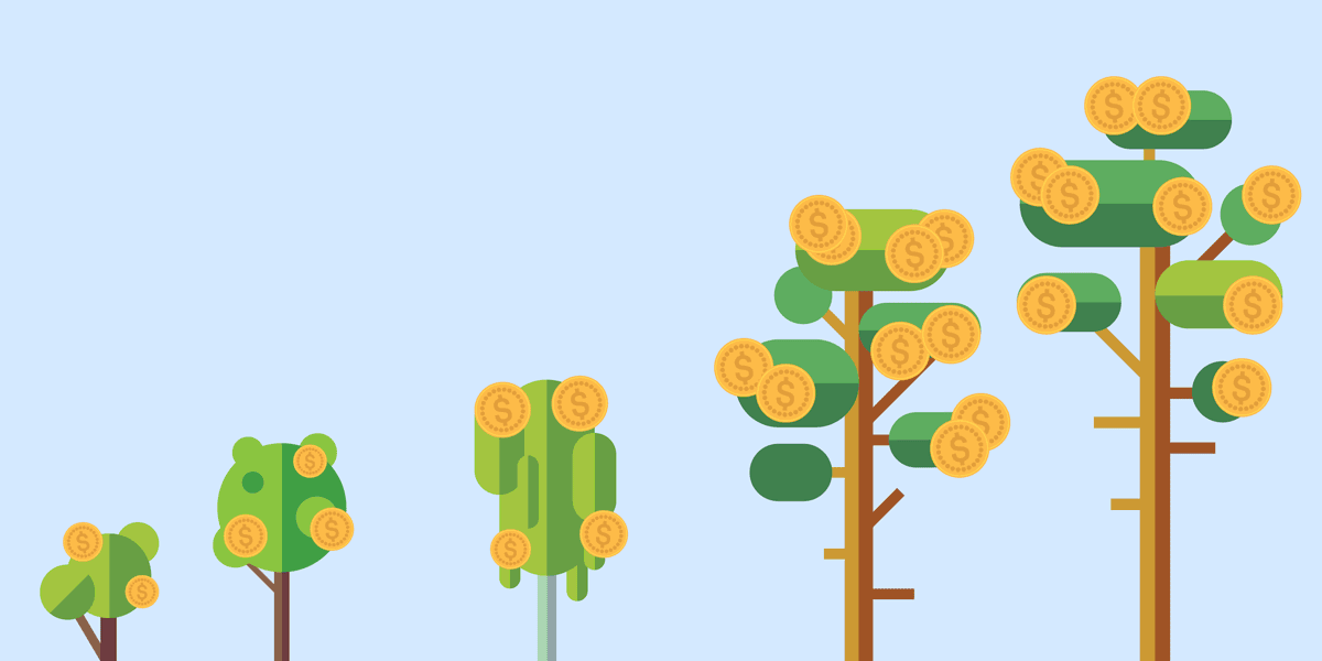 illustration of different types of trees (representing nonprofits) with leaves that have the $ symbol on them