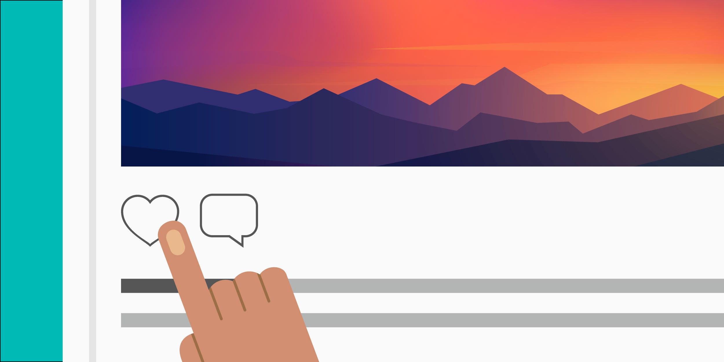 illustration of a person pointing to a heart icon below an nonprofit's Instagram post of a beautiful sunset