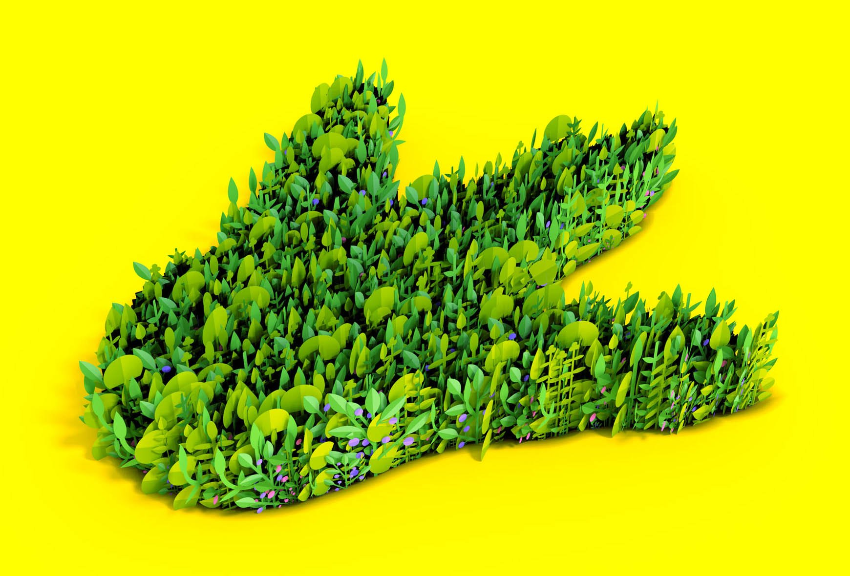 an illustration of a very leafy garden in the shape of dinosaur foot