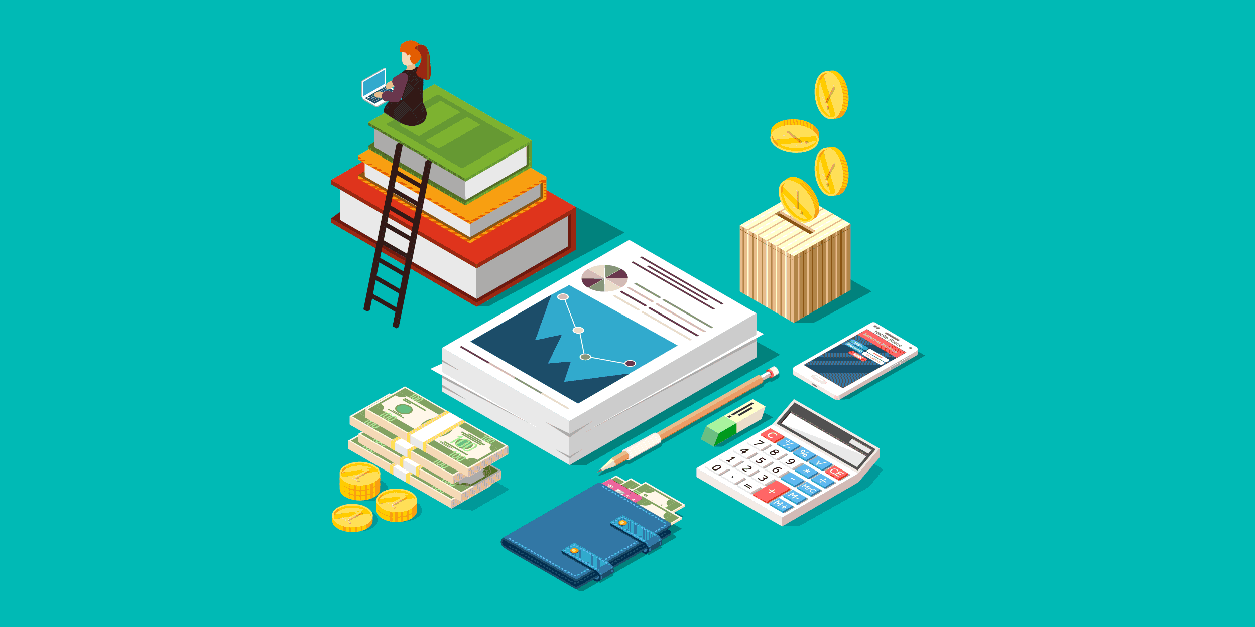 an illustration of a woman sitting on a stack of books working on nonprofit accounting, next to reports, cash, credit cards, a calculator, a piggy bank, a phone, a pencil, and an eraser