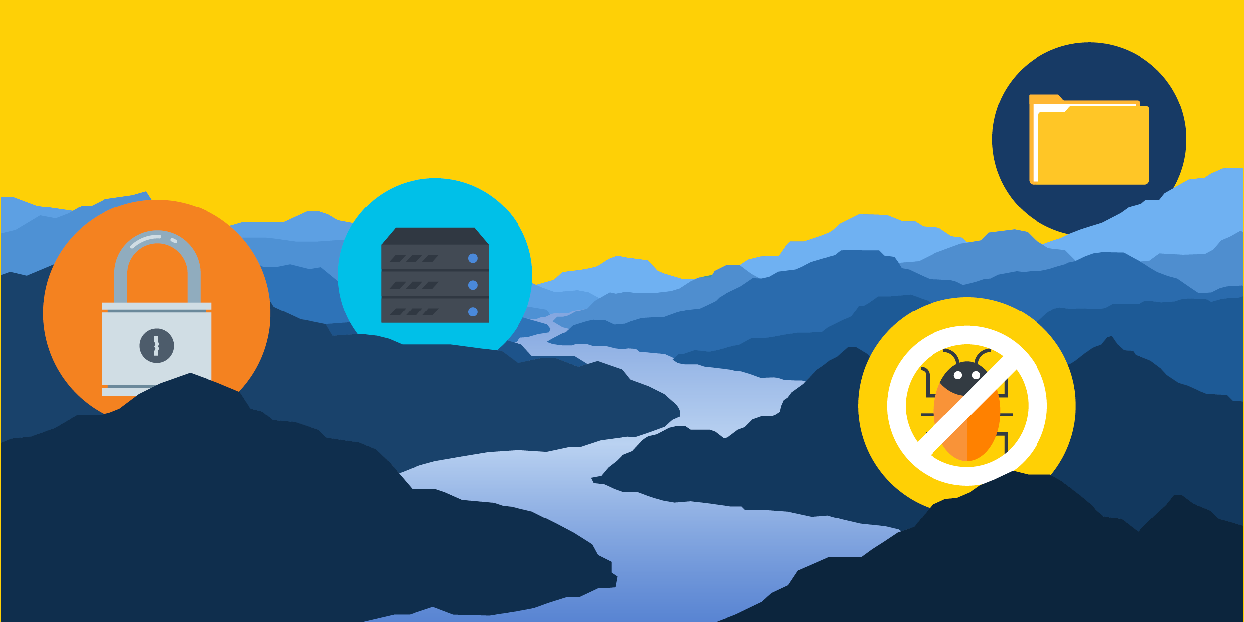 "an illustration of a river with icons of a folder, a server, a link, and a ""no bugs"" sign along its banks symbolizing how Symantec has increased data security for WOTR and therefore contributed to watershed protection"