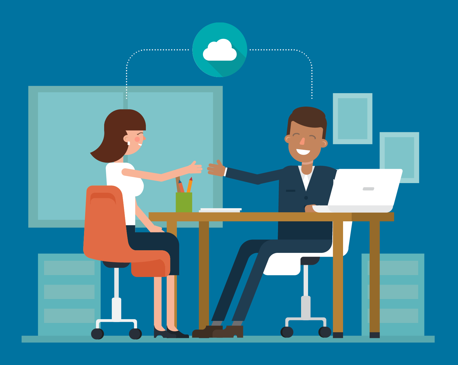 illustration of two coworkers smiling, thinking about the cloud, and reaching out to shake hands