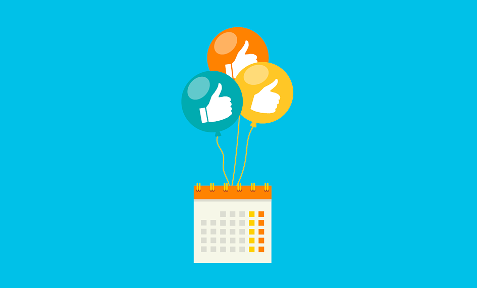 illustration of balloons with thumbs-up in them lifting up an event calendar