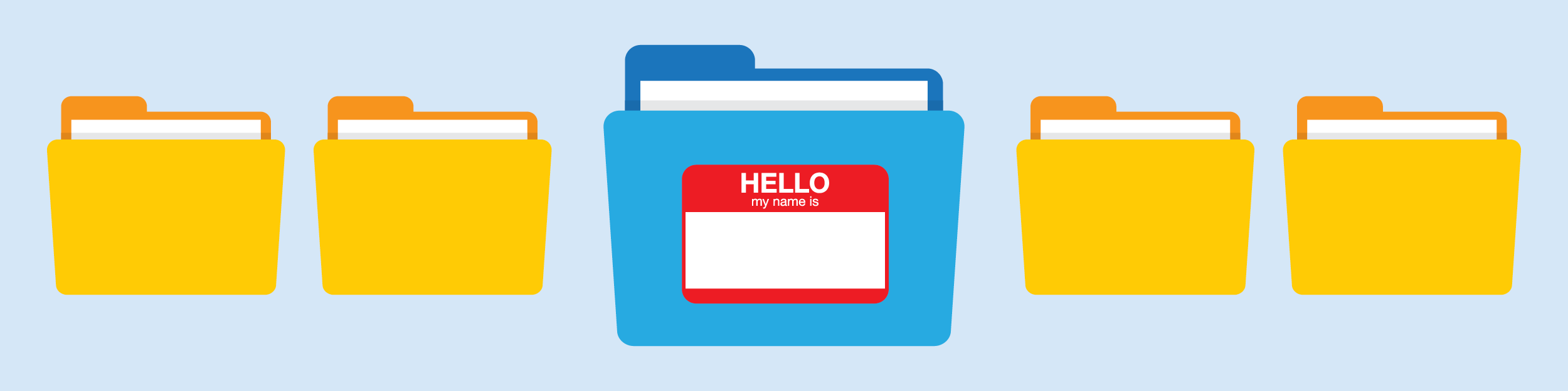 illustration showing five file folders; one has a name tag on it, symbolizing naming all of your folders