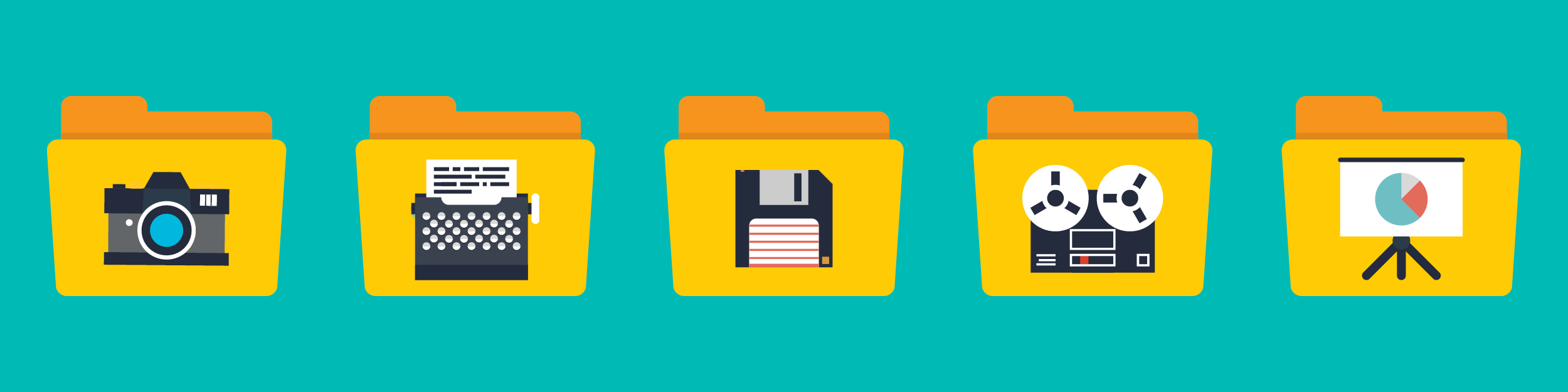 illustration of five file folders with different icons on each: a camera, typewriter, floppy disk, movie reel, and pie chart on an easel