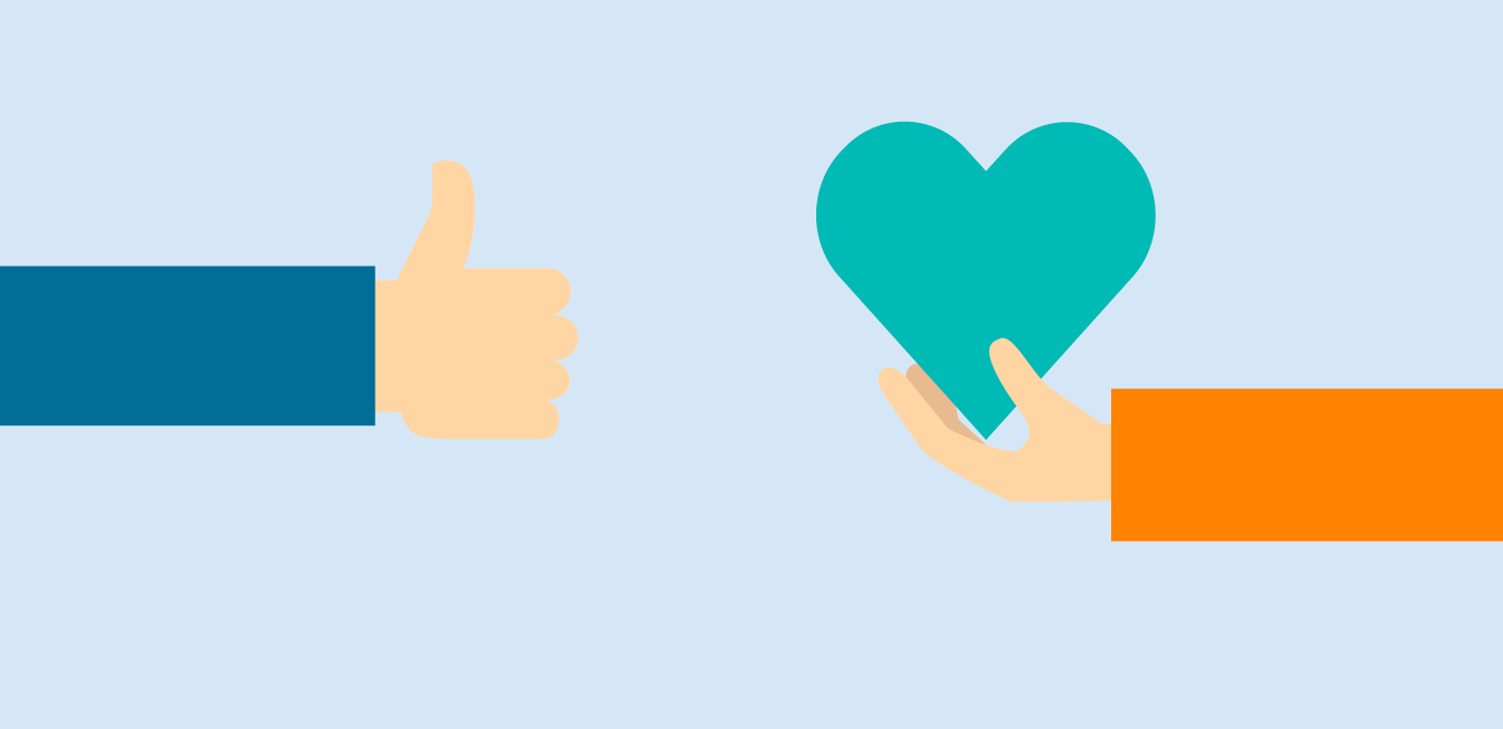 illustration of a thumbs-up and a person holding a heart symbolizing giving