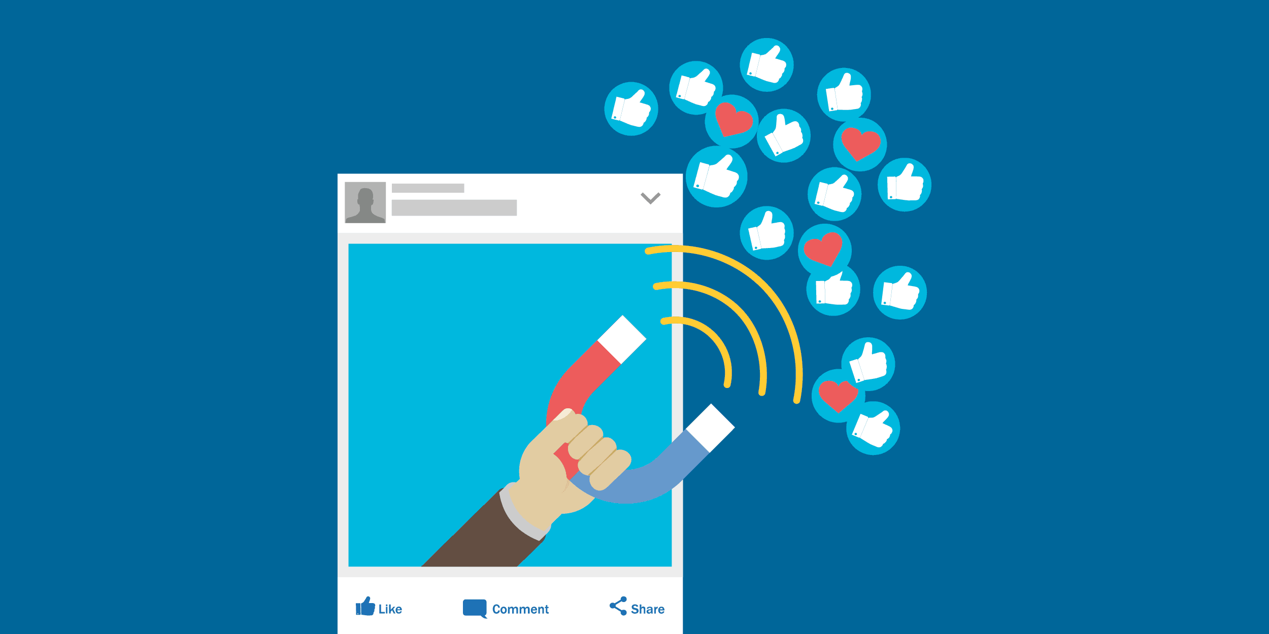 An illustration of a Facebook post with a hand holding a magnet coming out of the frame and collecting hearts and thumbs-up icons magnetically