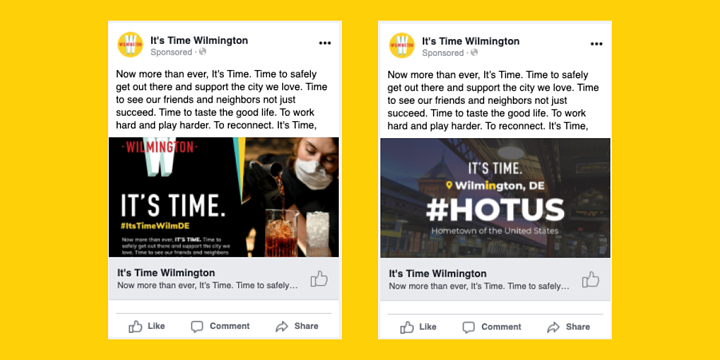 two Facebook ads, the same except for different images