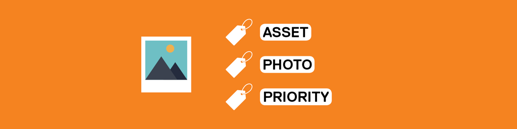 an illustration of a picture next to a group of tags labeled Asset, Photo, and Priority