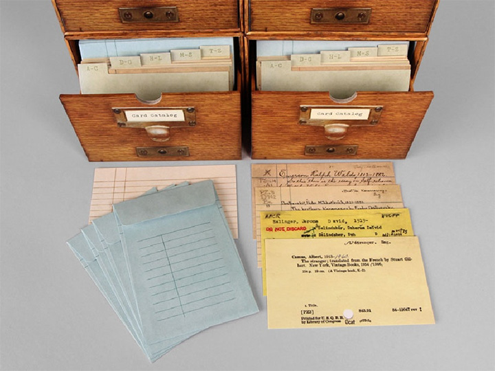 card catalog boxes with sample cards