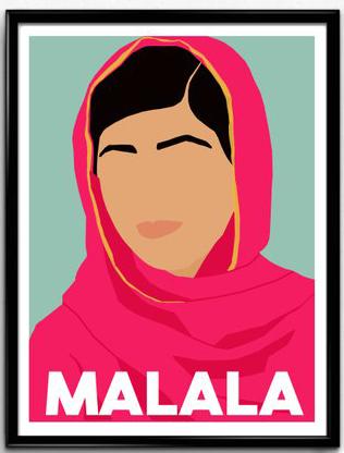 minimalist poster of Malala Yousafzai