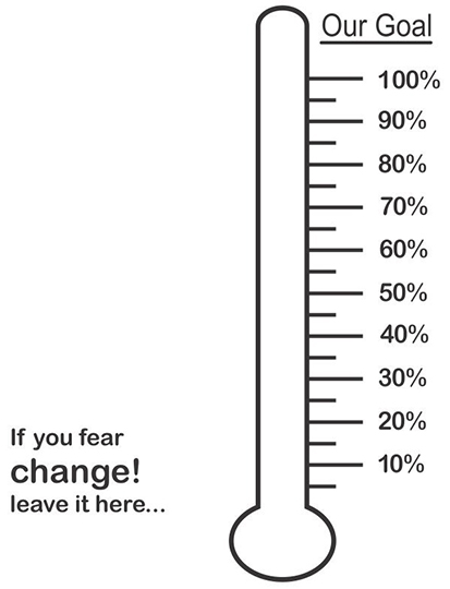 thermometer decal showing percentages of goal that can be filled in