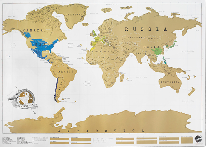 world map showing two areas partially scratched off