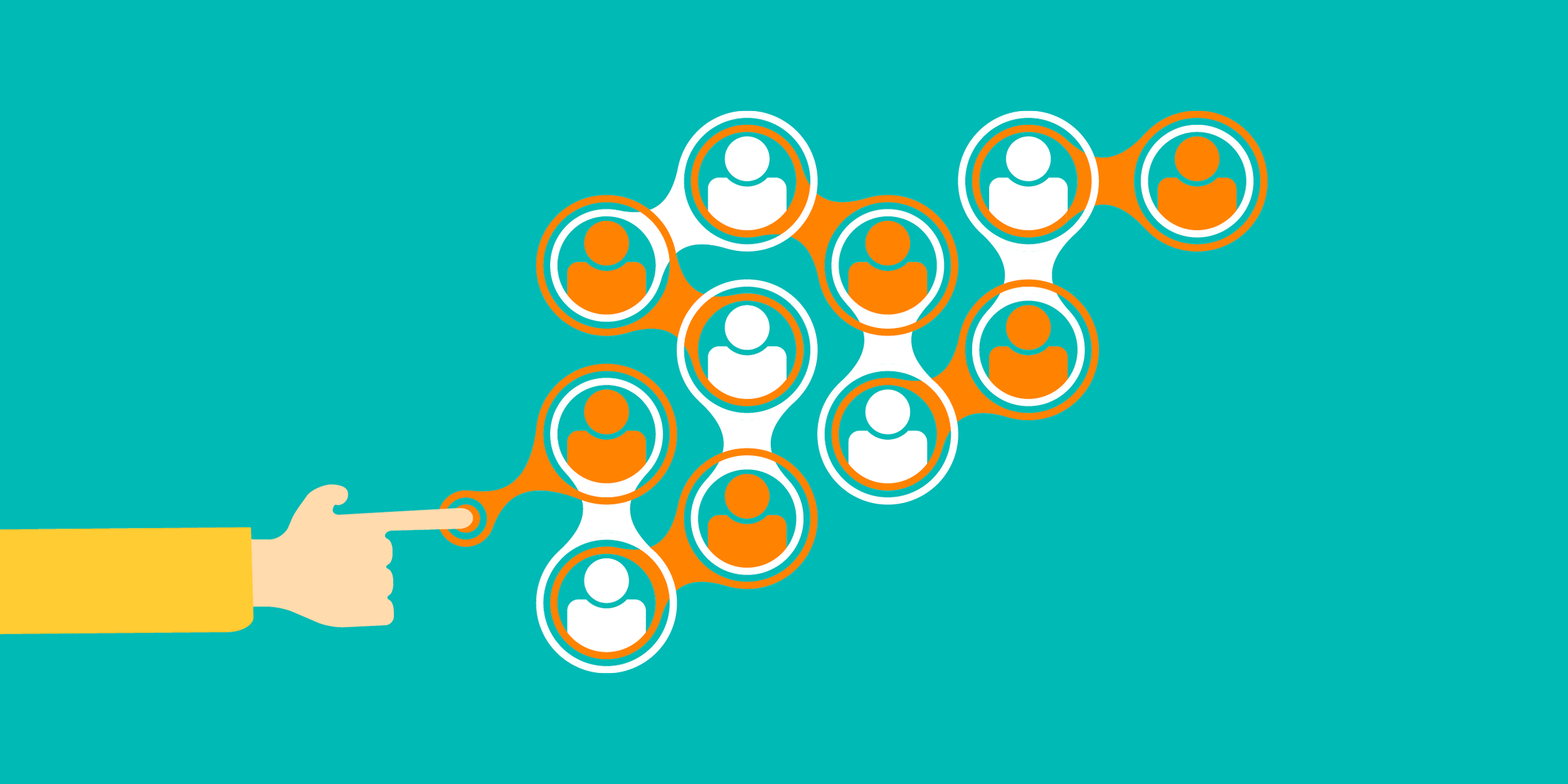 illustration of a person touching a network of people, representing nonprofit fundraising tools