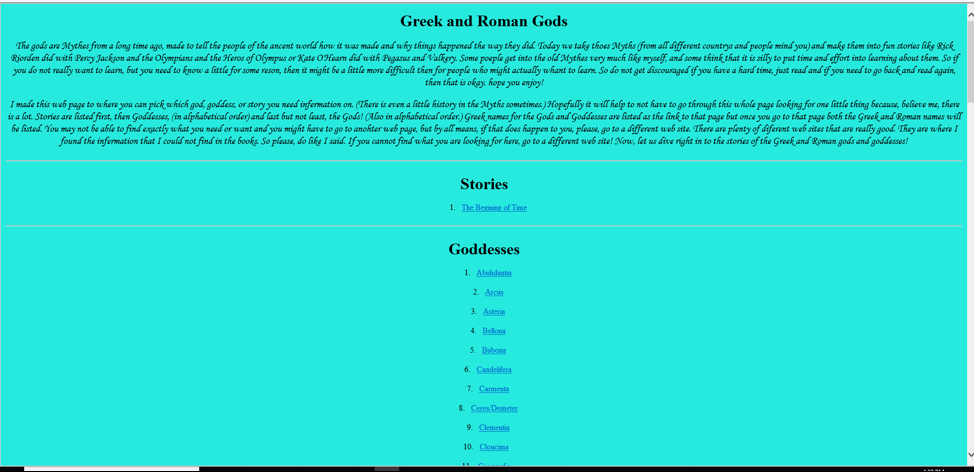 In this example, a teen who took HTML and CSS coding classes at Spring Branch-Memorial Library coded a web page on mythology.