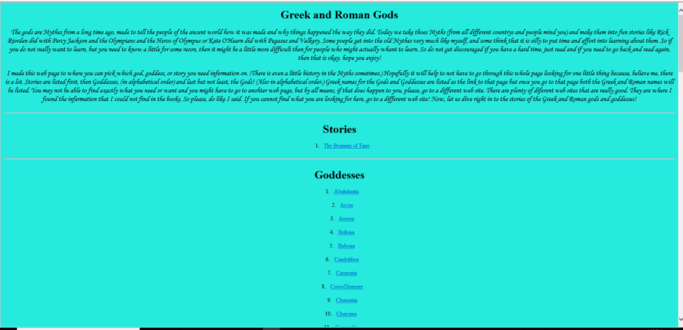 a web page on mythology was created using HTML and CSS