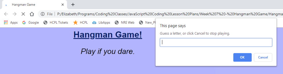 Screenshot of an online Hangman game built using Javascript